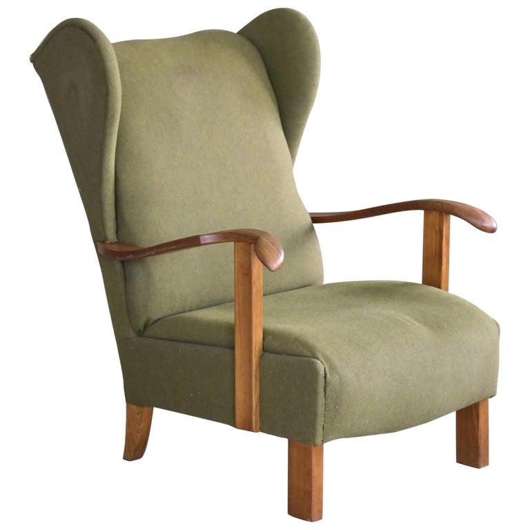 Fritz Hansen Model 1582 Wingback Lounge Chair Danish Midcentury