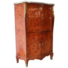 19th Century French Louis XV Style Inlaid Marble Top Abattant Secretaire