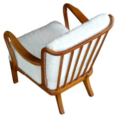 Fritz Hansen Open-Arm Lounge Chair with Slat Back Covered in Lambswool, 1940s
