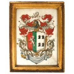 Coat of Arms of George Hutchinson Reverse Painting, circa 1826