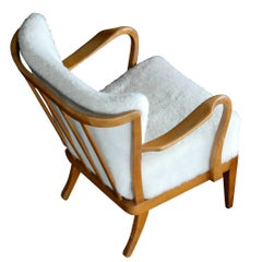 Alfred Christensen Danish Open-Arm Lounge Chair Covered in Lambswool, 1940s