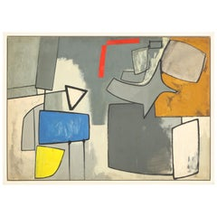 """Nell Blaine """"Abstraction with Blue, Red and Yellow"""" Oil on Canvas, USA, 1944"""