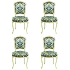 Four Louis Style Dining Chairs French Upholstered Vintage, Early 20th Century