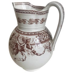 19th Century Large Scale Floral Ribbon English Ironstone Pitcher