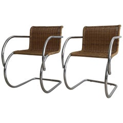 1970s Wicker MR Cantilever Armchairs in the Style of Mies van der Rohe, Pair