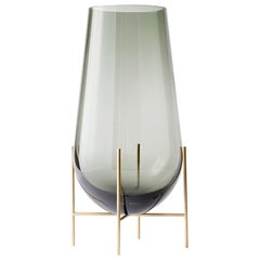 Small Echasse Vase by Theresa Arns, with Brass Legs and Smoked Glass