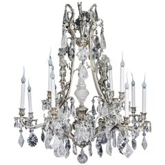 Unique Antique French Louis XVI Style Silver Bronze and Rock Crystal Chandelier