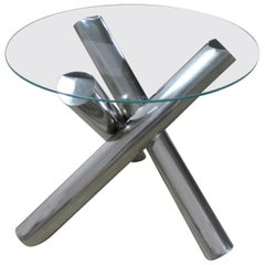 Tubular Stainless-Steel Jacks Tripod End Table Round Glass