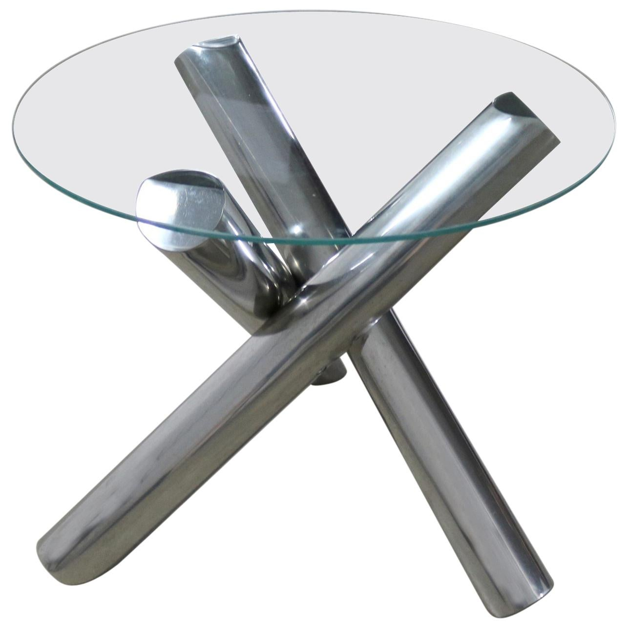 Tubular Stainless Steel Jacks Tripod End Table Round Glass For Sale