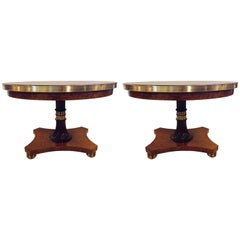 Pair of Regency Style Marble-Top Centre Tables with Bronze Galleries