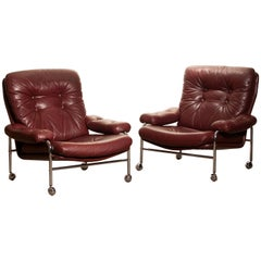 1970s, Chrome and Red Leather Easy / Lounge Chairs by Scapa Rydaholm, Sweden