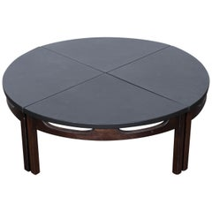 Midcentury Four-Piece Walnut and Leather Coffee Table USA, 1960s