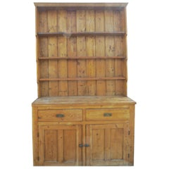 English Two-Piece Dresser with Two Lower Doors Two Drawers and Three Shelves