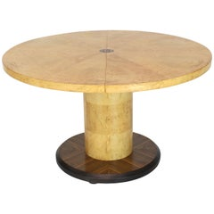 Round Single Cylinder Pedestal Base Burl Game Low Dining Table 1 Extension