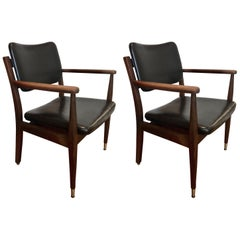 Pair of Armchairs with Brass Sabots, USA Circa 1955