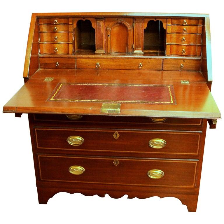 Antique English Inlaid Mahogany George III Slant-Front Bureau, Superb Interior For Sale