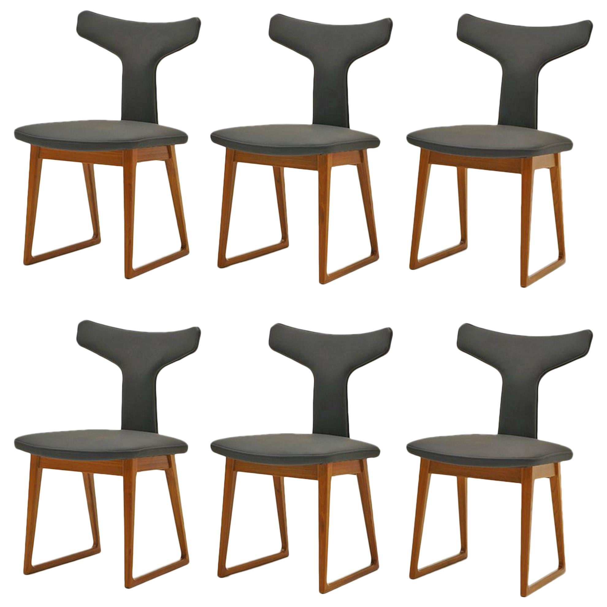 Rare Set of Six Dining Chairs by Arne Vodder for Sibast, Teak and Black Leather