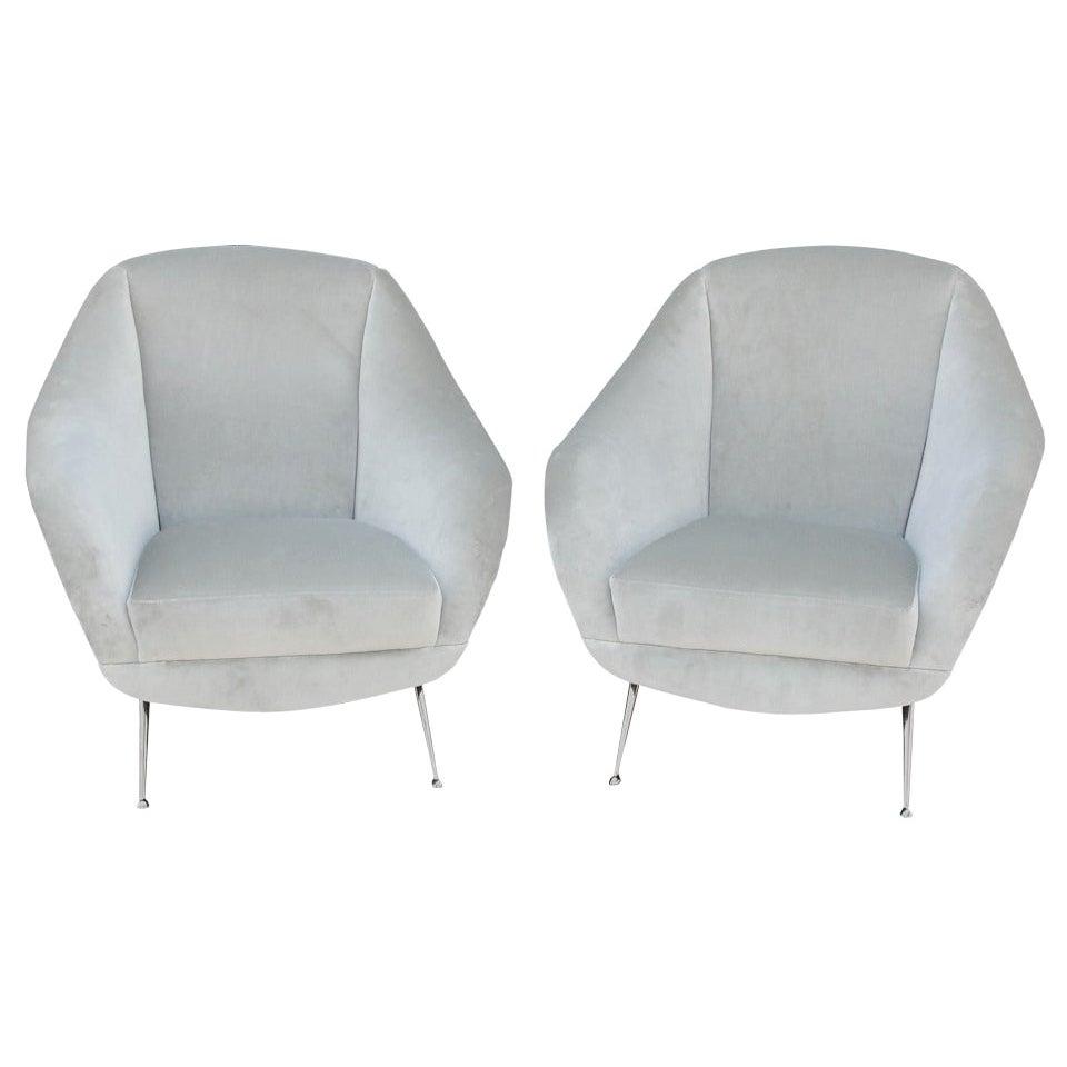 Sculptural Pair of Vintage Italian Velvet Armchairs