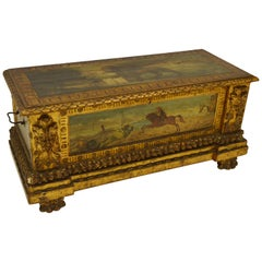 Italian Renaissance Style Carved and painted Florentine Cassone Floor Trunk