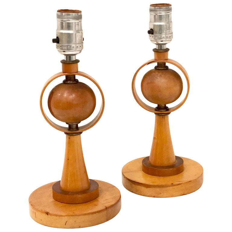Danish Modern Petite Pair of Atomic Table Lamps For Sale