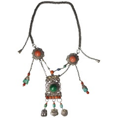Fine Rare Chinese Antique Silver Coral and Turquoise Necklace 中国古董