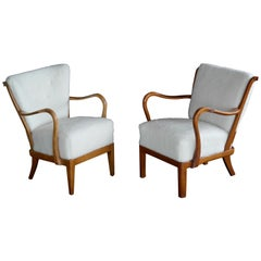 Pair of Danish Midcentury Open Armchairs with Spindle Backs and Lambswool Cover