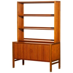 1960s, Teak Tambour Bookcase Cabinet by Carl Aksel Acking for Bodafors, Sweden