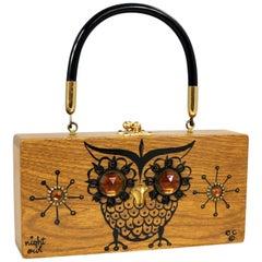 Enid Collins Original Night Owl Wood Box Bag by Collins of Texas Vintage
