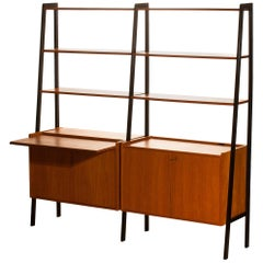 1950s, Teak Swedish Bookcase or Secretaire with Black Stands
