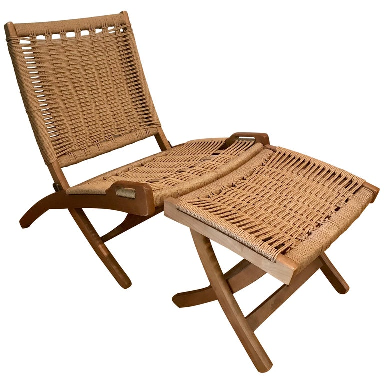 Hans Wegner Style Lounge Chair with Ottoman, Oak with Woven Seat, Yugoslavia