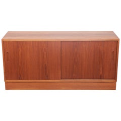 Danish Two-Door Midcentury Teak Sliding Door Sideboard by Poul Hundevad