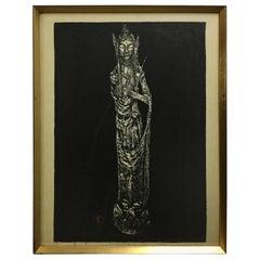 "Kaoru Kawano Limited Edition Japanese Woodblock Print ""Kwannon"""