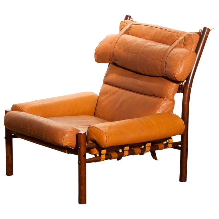 """Srm Furnitures: 1968, Cognac Leather Safari Chair """"Inca"""" By Arne Norell"""