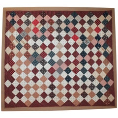 19th Century One Patch Crib Quilt / Mounted