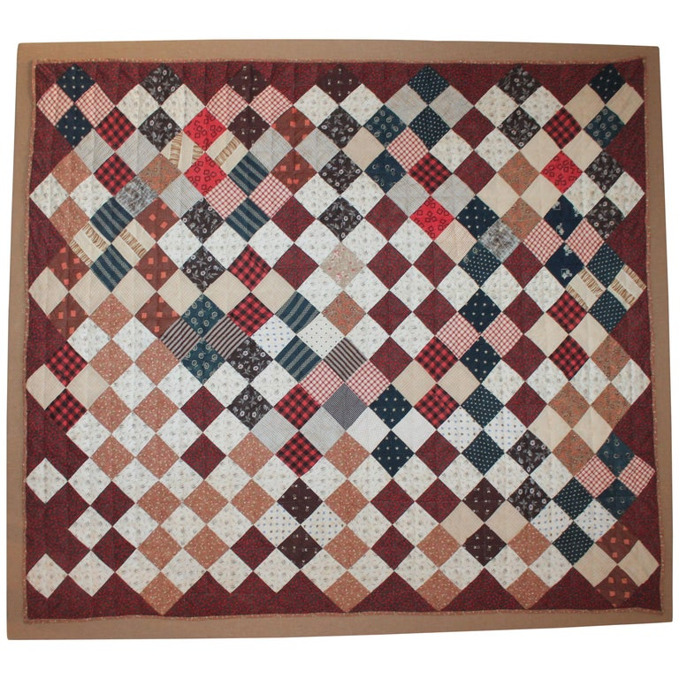 19th Century One Patch Crib Quilt / Mounted For Sale