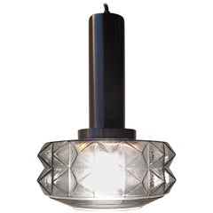 Midcentury Danish Pendant Light in Smoke Glass from Vitrika, 1960s