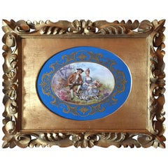 19th Century Unmarked Sevres Hand-Painted Porcelain Plaque, Hand Carved Frame