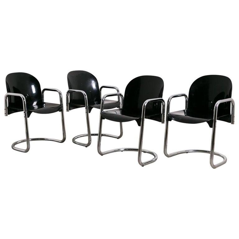 Black Fibreglass Dialogo Dining Chair Set by Tobia & Afra Scarpa, 1970, Italy