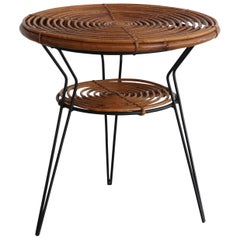 Rattan and Iron Side Table