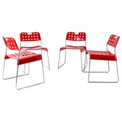 Red Dining Chairs by Rodney Kinsman for Bieffeplast Red, 1970, Italy