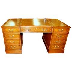 English Bench Made Reprod. Burr Elm Chippendale Style Pedestal Partner's Desk