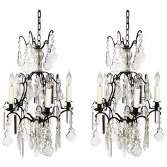 Multi Crystal Birdcage Chandeliers, Pair