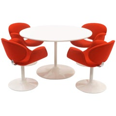 Early Pierre Paulin Dining Table and Chairs, Red and White, Expertly Restored