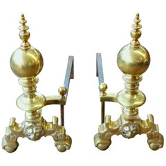 """Pair of Old Reprod, Heavy Solid Cast Brass Federal Style """"Lion's Head"""" Andirons"""