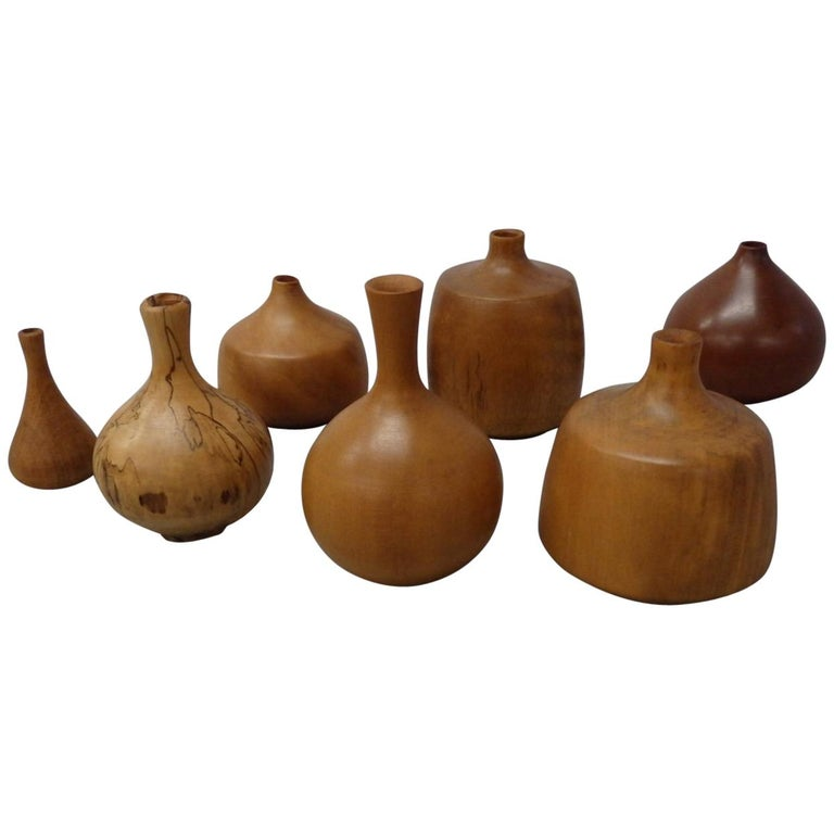 Collection of Seven Rude Osolnik Various Turned Wood Weed Pots
