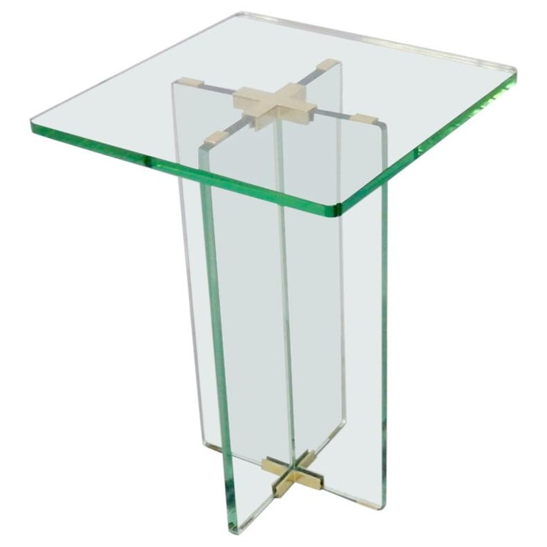 Architecturally Styled Green Edge Glass Side Table Attributed to Fontana Arte For Sale