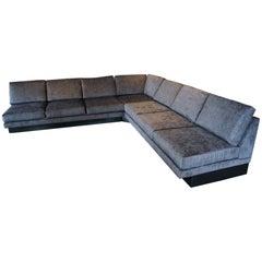 Sectional Sofa by Milo Baughman, Restored, Robert Allen Grand Chenille Fabric