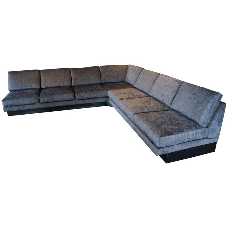 Sectional Sofa by Milo Baughman, Restored, Robert Allen Grand Chenille Fabric For Sale