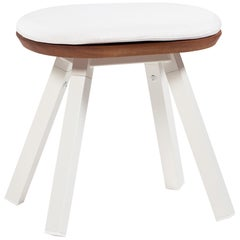 RS-Barcelona You and Me Stool in Walnut and White with White Cushion by A.P.O.