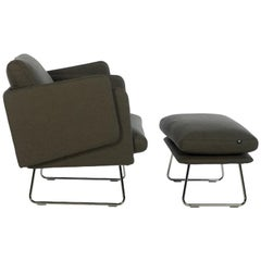 RS-Barcelona Spongy Armchair in Dark Taupe with Footrest by Stone Designs